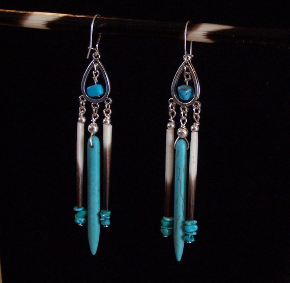 African Porcupine Quill and Turquoise Earrings - Porcupine Quill and Turquoise - Porcupine Quills Turquoise and Silver