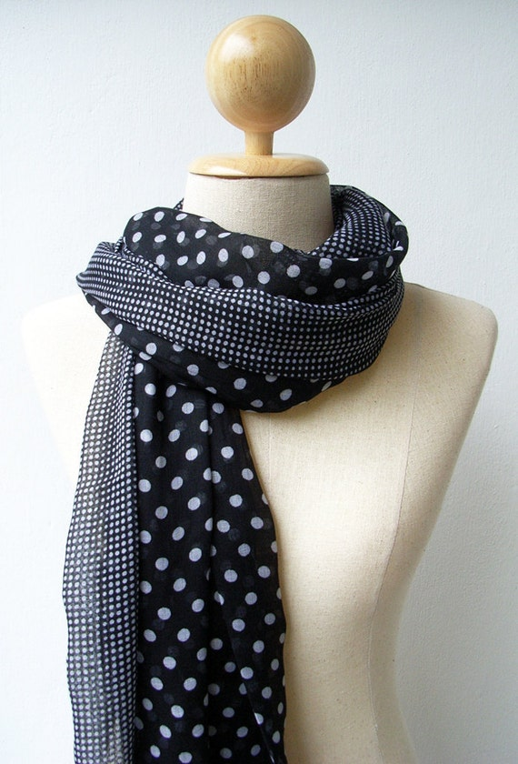 White Dot Print Long Polka Dot Scarf - Black