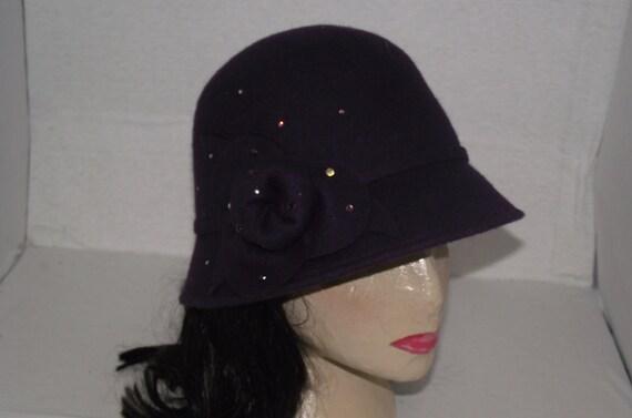 Dark Purple Eggplant Wool Felt Womans Cloche hat