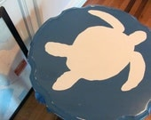 Hand Painted Blue Sea Turtle Tables