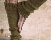 Leg Warmers Knit Leg Warmers Green Leg Warmers Teen Leg Warmers Womens Leg Warmers - Made to Order
