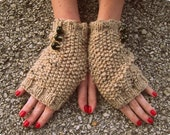 Tan  Knitted Fingerless Gloves Beaded Short Green Sparkly Beads Short Glove