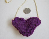 Purple Knitted Heart Necklace