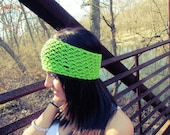 Green Lace Knitted Headband Thick Womens Hair Accessories
