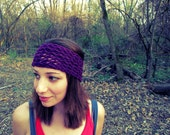 Purple Knitted Turban Headband Thick Womens Lace Hair Accessories