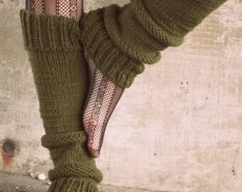 Leg Warmers Knit Leg Warmers Green Leg Warmers Teen Leg Warmers Womens Leg Warmers - Made to Order