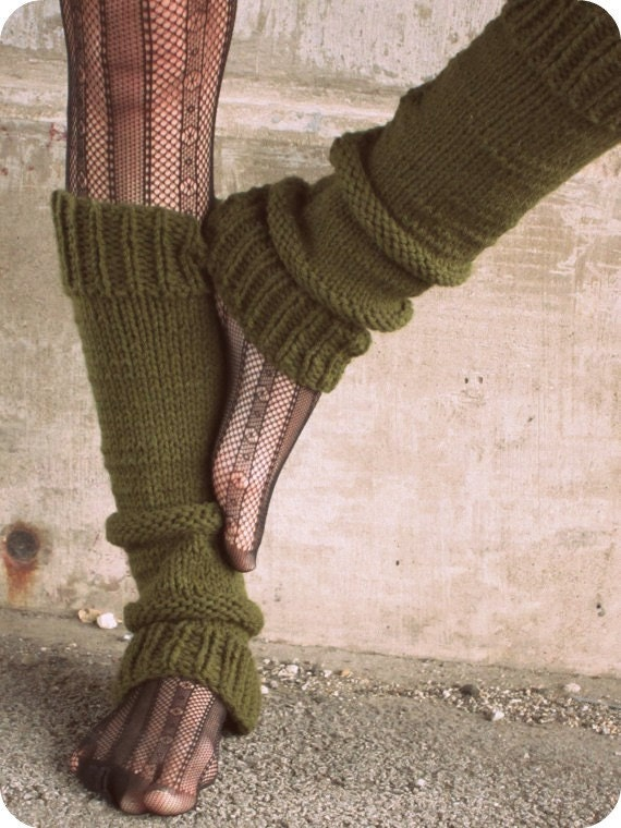Leg Warmers Knit Leg Warmers Green Leg Warmers Teen Leg