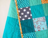 Baby Quilt - Beautiful Teal Baby Quilt with Munki Munki Martians, Tourists Fabric, and More
