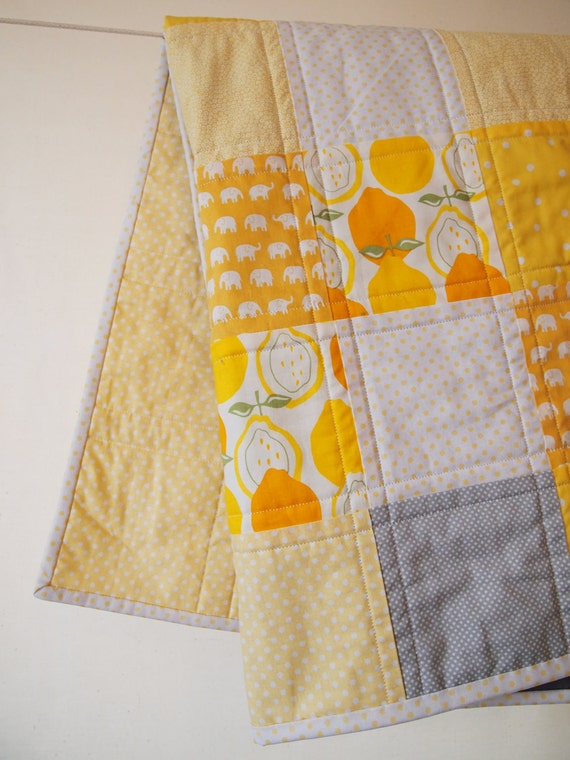 Baby Quilt - Sweet Yellow Baby Quilt with Little Elephants, Alexander Henry and More