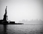 Statue of Liberty photo with Manhattan skyline. New York cityscape. Neoclassical black and white urban decor