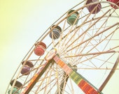 Ferris Wheel photo in pastel colors - whimsical nursery decor. Carnival photograph in pastel pink, purple, yellow, orange & green