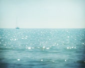 Nautical photo, sailboat, surreal dreamy summer decor, beach ocean sparkling water, pastel blue aqua minimalist decor