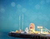 Atlantic City pier photo, ferris wheel, whimsical dreamy decor, nursery art, blue, beach pier at dusk, amusement park