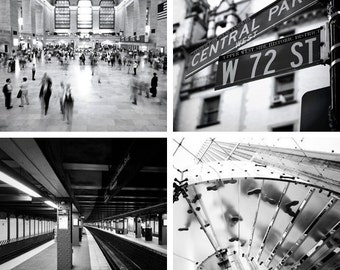 NYC photo set in black and white. Father's Day Gift. New York, Manhattan street signs, subway, Grand Central Station, Apple Store