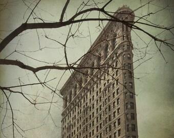Flatiron Building photo, NYC Manhattan New York City historic landmark, gloomy olive green teal urban decor for men