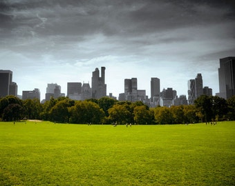 New York City Manhattan skyline / cityscape /landscape. NYC Central Park photo. Gray and green urban decor.