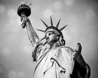 Statue of Liberty photo, Black and white New York City landmark. Urban home decor.