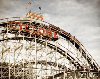 Coney Island photo, Astroland Cyclone. Vintage wooden roller coaster in Brooklyn New York. Landmark.