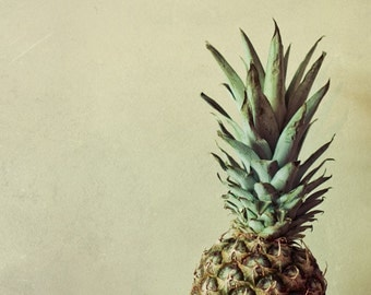 Pineapple photo / Food photography. Kitchen art in beige green and brown.