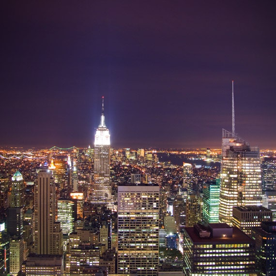NYC skyline photo New York City lights, amethyst decor purple grape plum, Manhattan at night, Empire State Building