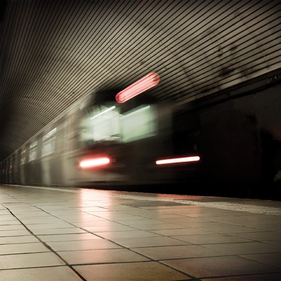 NYC Subway photo, Father's Day Gift, New York City subway train in motion.
