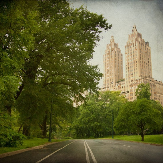 Central Park photo, Eldorado New York City apartment building, NYC landmark, Manhattan, art deco, green beige urban decor