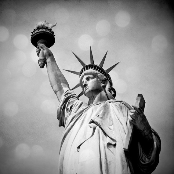 Statue of Liberty photo, Black and white New York City landmark. Urban home decor.