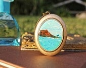 Hawaii Locket Unique Birthday or Graduation Gift  Waikiki Beach Diamond Head - Hand painted Necklace, USA gift under 50 Vacation gift