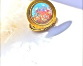 Huntington Gardens Painted Locket painted jewelry  Original on Canvas Impressionism Lovely By Rembrandtrocks Under 40