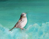 """Sparrow Painting """"His Eye Is On The Sparrow""""  Archival Print Bird lovers Free ship in U.S. 5x4 Archival Print By Rembrandtrocks"""