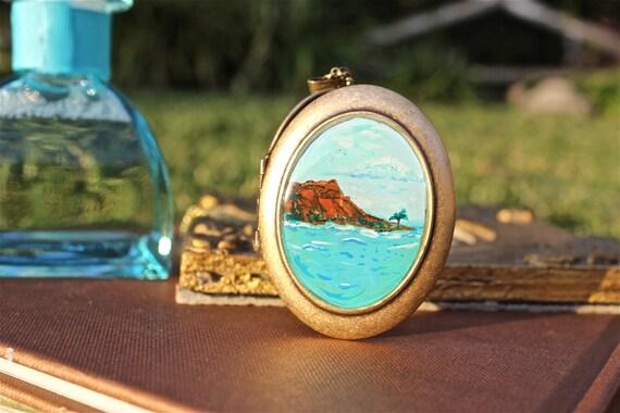 Hawaii Locket Unique Birthday or Graduation Gift  Waikiki Beach Diamond Head - Hand painted Necklace, USA gift under 50 Vacation gift