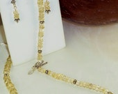 """Natural Champagne Sunstone and Sterling Silver 18"""" Necklace, Earring Set"""