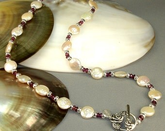"17"" Rhodolite Garnet and Freshwater Coin Pearl, Sterling Silver Necklace"