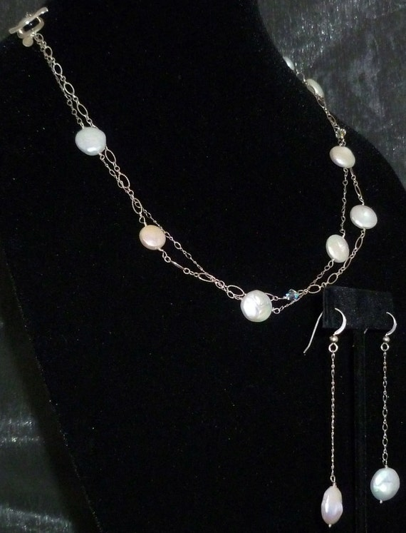 Freshwater Coin Pearl Station Necklace/Earring Set