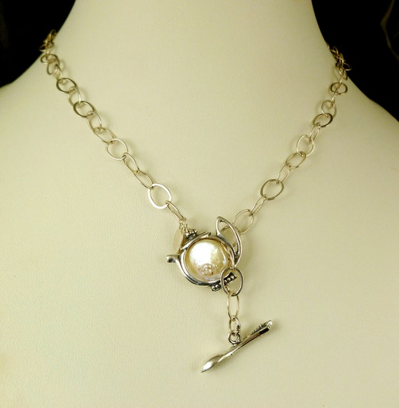 25 Inch Sterling Silver Teapot and Spoon Lariat