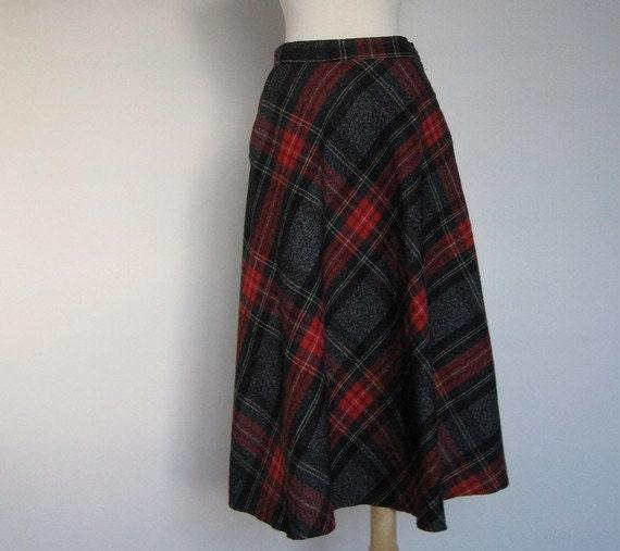 Vintage PLAID Wool A-Line Midi Skirt(Free Shipping)
