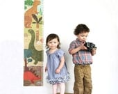 Growth Chart - Personalized Dinosaur Growth Chart Fabric Wall Decal Inches Version