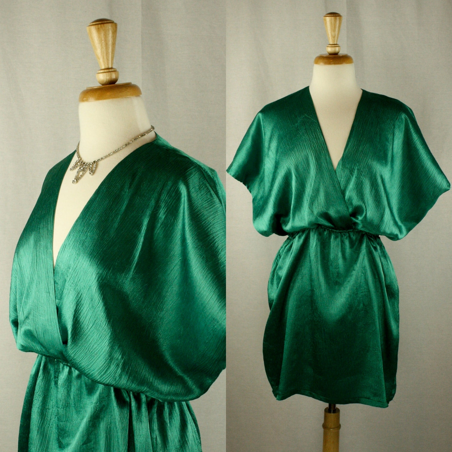 vintage emerald green cocktail dress art deco by