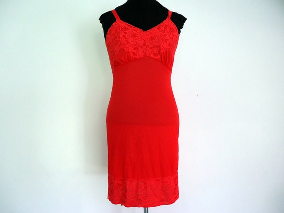 Vintage Red Hot Slip With Deep Lace Hem Size 34 by Snowdon