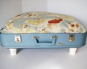 Suitcase Pet Bed from Vintage 50s suitcase -  Blue with Vintage style Lil Rascals Bulldogs Premium Fabric by Moda Fabric