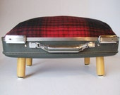 Suitcase Pet Bed from Vintage 70s Briefcase - Gray with Red and Black Plaid Fleece Pillow