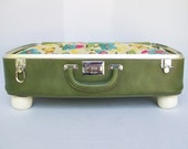 Pet Bed from Vintage 70s Suitcase- LARGE and DEEP - Green with bright Floral Fabric