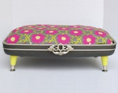 RESERVED FOR SARAH-Pet Bed from Vintage 70s Suitcase - Gray with Bright Green and Pink Floral Fabric