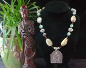 Ethnic Beaded Necklace - Durga Pendant - Indian Necklace - Opal - Beadwork - African Green Opal - Goddess - Statement Necklace - Yoga