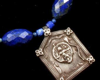 Lapis Lazuli Necklace, Indian Jewelry, Lapis Necklace, Blue Stone Necklace, Ethnic Necklace, Lapis Lazuli Jewelry, Shiva Pendant