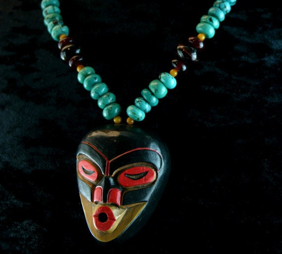 RESERVED for MICHAIL ----Shaman Necklace - Native American Necklace - American Indian Jewelry - Tsonokwa Mask