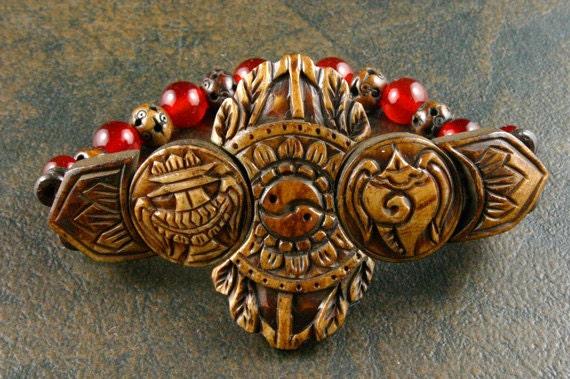 Yoga Stretch Bracelet - Carnelian Bracelet - Yoga Jewelry - Ethnic Beaded Bracelet - Dorje - Wrist Mala - Bone Bracelet - Carved Bone