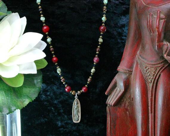 Buddha Necklace - African Turquoise, Red Jade Necklace - Ethnic Beaded Necklace - Thai Buddha Pendant - Buddhist Jewelry Jewelery Jewellery