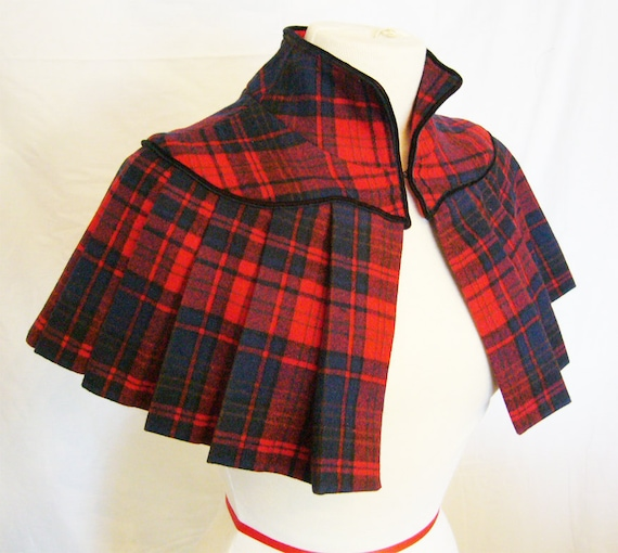 Custom made Vintage Inspired Pleated Wool Capelet