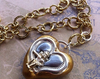 Baby Angel Heart Pendant / Necklace - Silver and Gold Tone